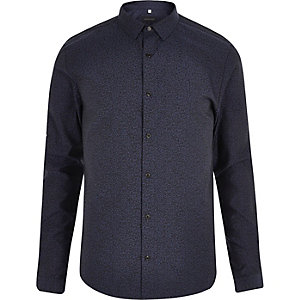 Navy leopard jacquard slim fit shirt