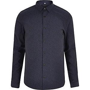 Marineblaues Slim Fit Hemd mit Leopardenmuster