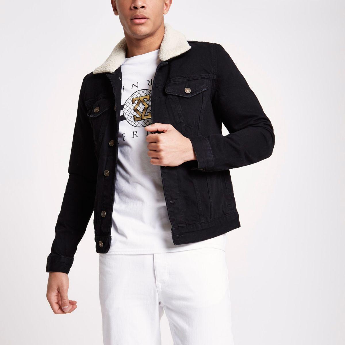 Black washed fleece lined denim jacket