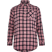 Pink check long sleeve shirt