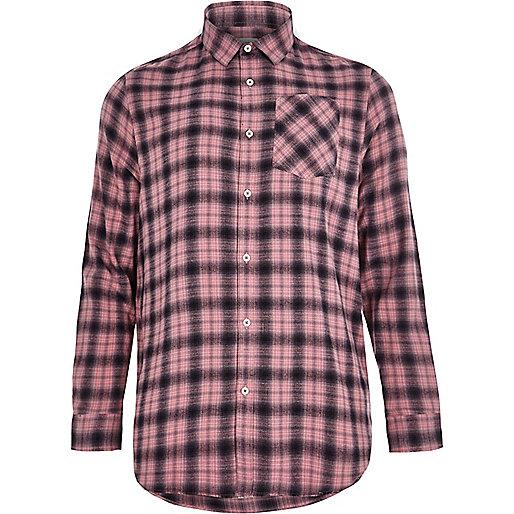 Pink check long sleeve shirt