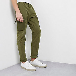 Khaki green skinny fit cargo pants