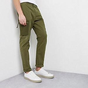 Pantalon skinny vert kaki style cargo