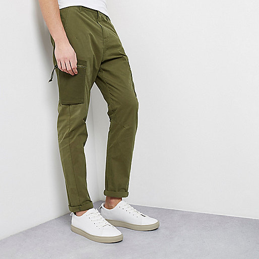 Khaki green skinny fit cargo trousers