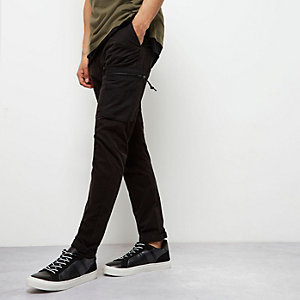 Black skinny fit cargo pants