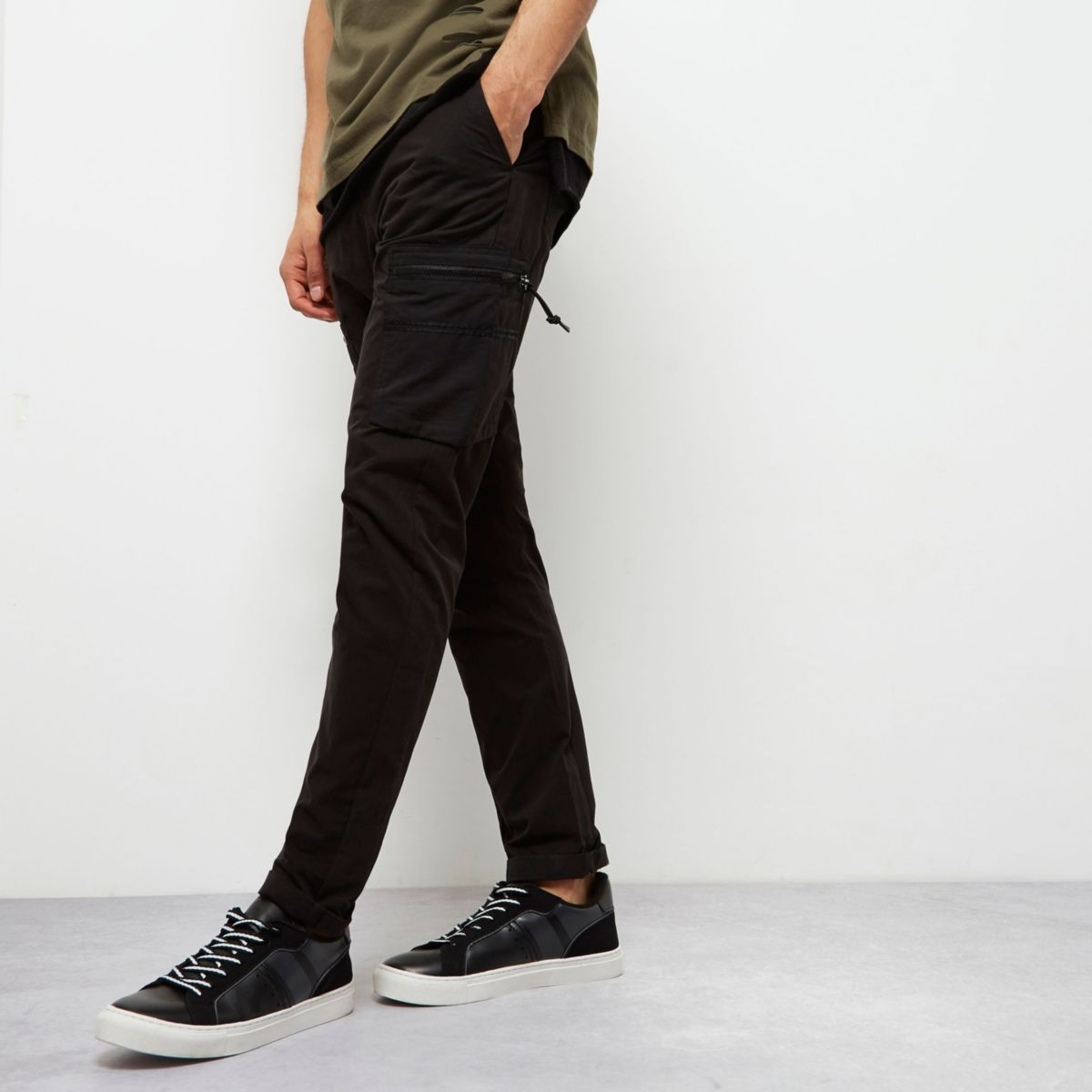 Black skinny fit cargo trousers