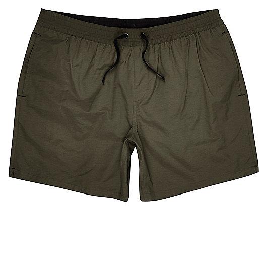 Khaki green swim trunks