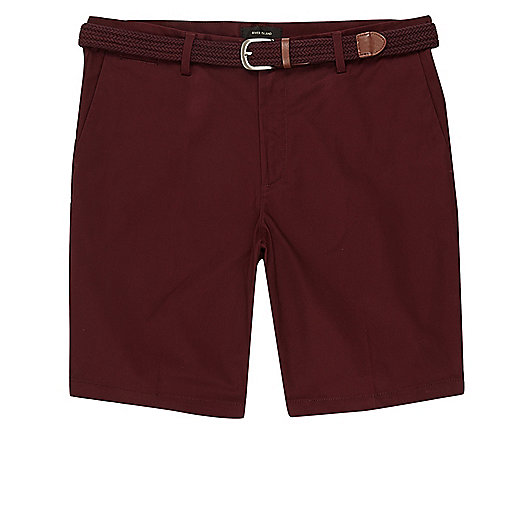 Maroon belt detail chino shorts