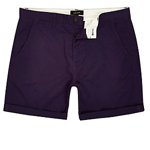 Purple slim fit rolled up shorts