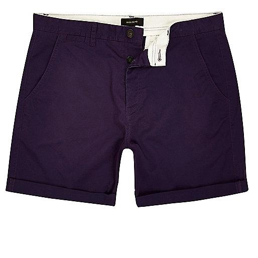 Purple slim fit turn up shorts