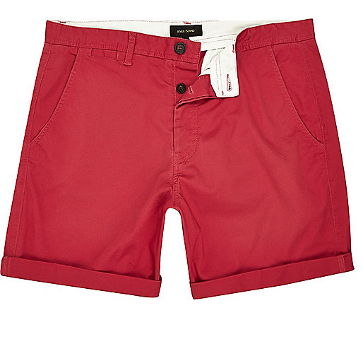 Red slim fit turn up shorts