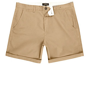 Tan slim fit turn up shorts