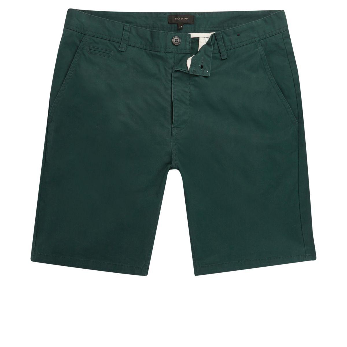 Green slim fit shorts