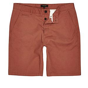 Orange slim fit shorts