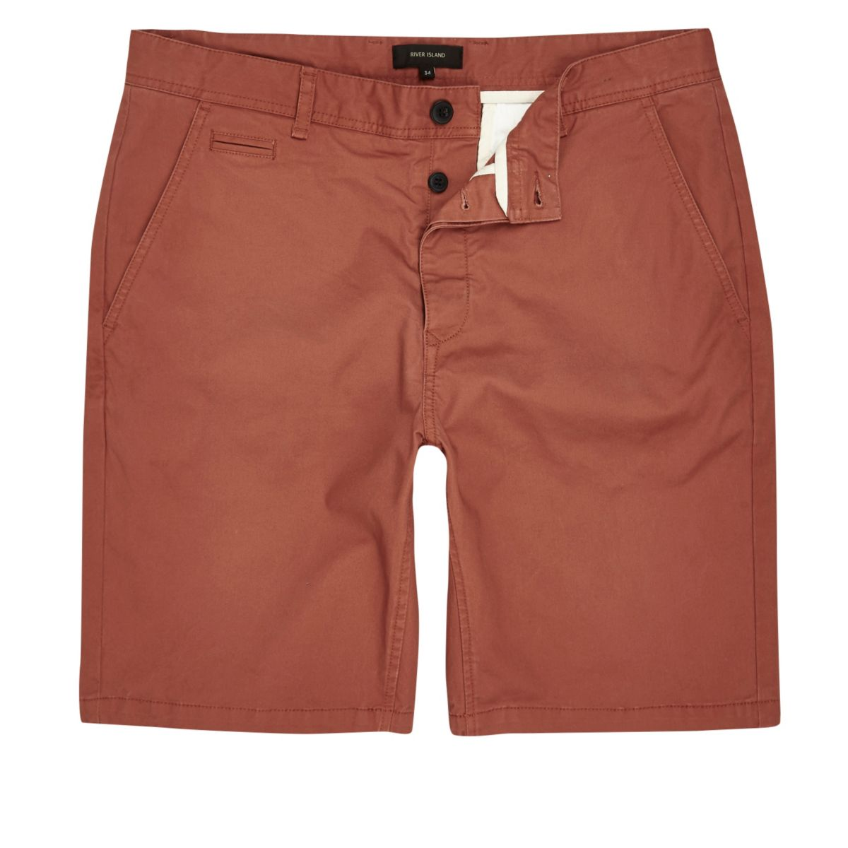 Orange slim fit shorts
