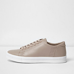Pink perforated lace-up trainers