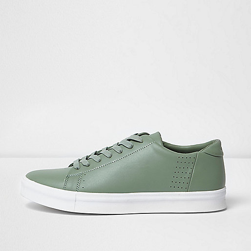 Light green perforated lace-up trainers