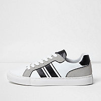 White and grey stripe lace-up sneakers