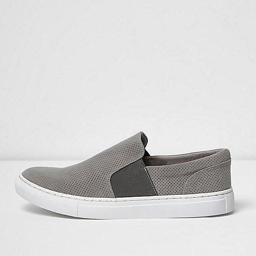 Light grey perforated slip on plimsolls