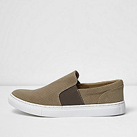 Stone perforated slip on plimsolls