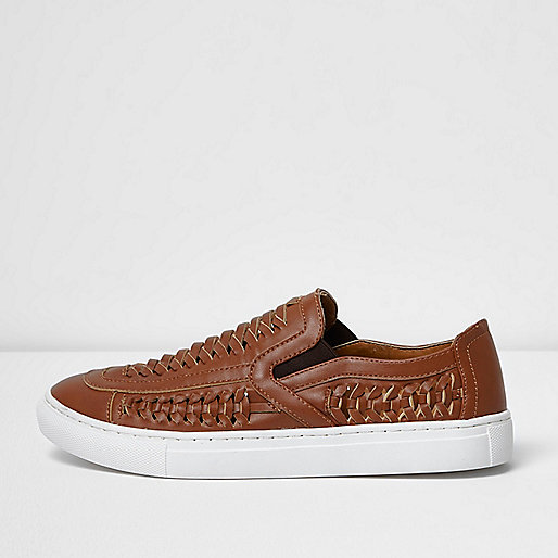 Brown faux leather woven plimsolls