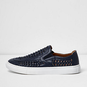 Navy faux leather woven plimsolls