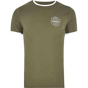 Khaki green muscle fit logo T-shirt