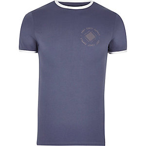 Blue muscle fit logo T-shirt