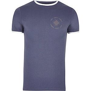 T-shirt avec logo bleu ajusté