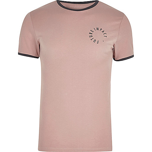 Pink muscle fit logo T-shirt