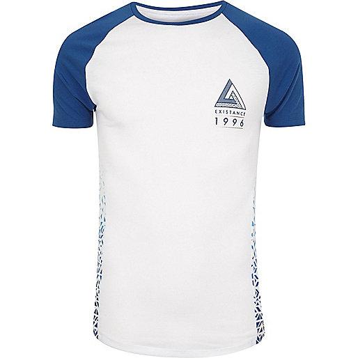 White print muscle fit raglan T-shirt