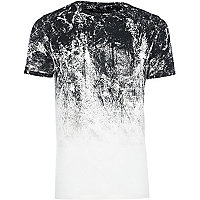 White faded glitch print muscle fit T-shirt