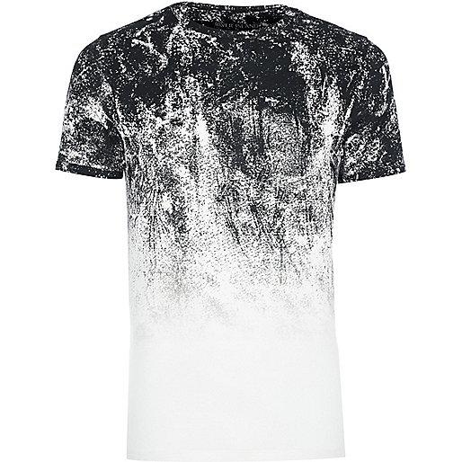 T-shirt blanc imprimé bug dégradé coupe ajustée