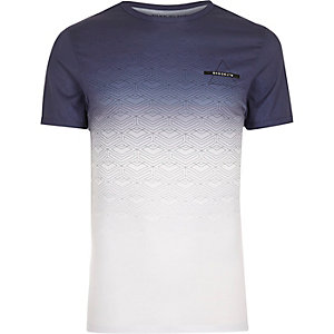 White geo faded print muscle fit T-shirt
