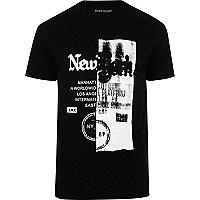 Black New York spliced print T-shirt