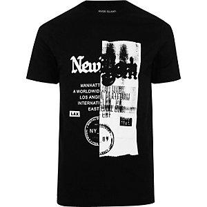 T-shirt noir imprimé New York découpé