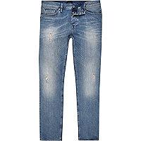 Dylan – Mittelblaue Slim Fit Jeans im Used-Look