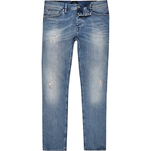 Dylan – Mittelblaue Slim Fit Jeans im Used-Look