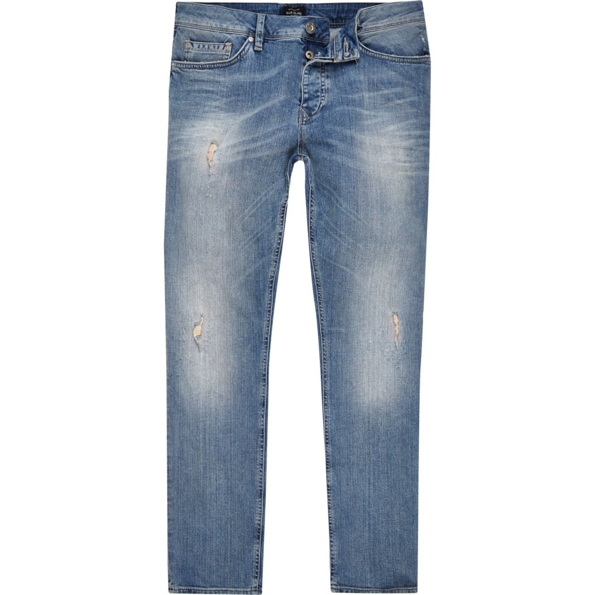 Mid blue ripped slim fit faded Dylan jeans