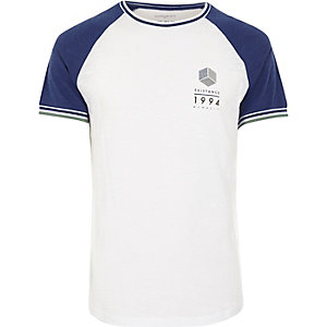 White and blue slim fit raglan T-shirt