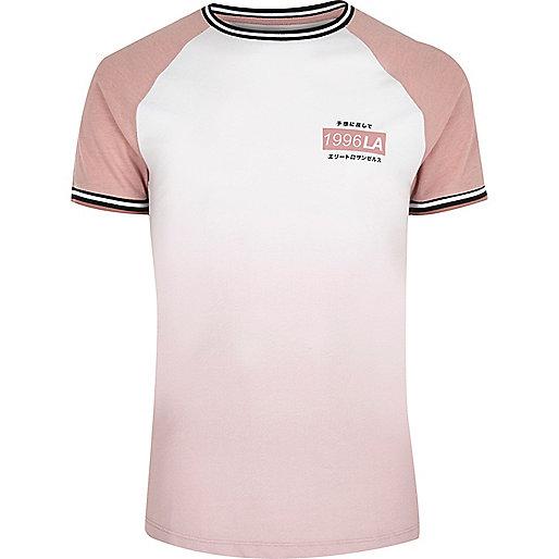 Pink slim fit faded effect raglan T-shirt