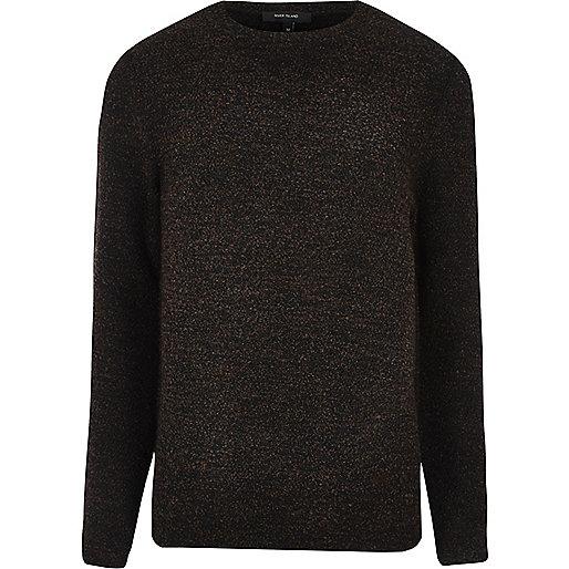Dark brown bouclé sweatshirt