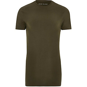 Khaki green longline muscle fit T-shirt