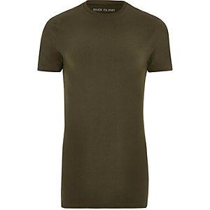 T-shirt vert kaki long à coupe ajustée