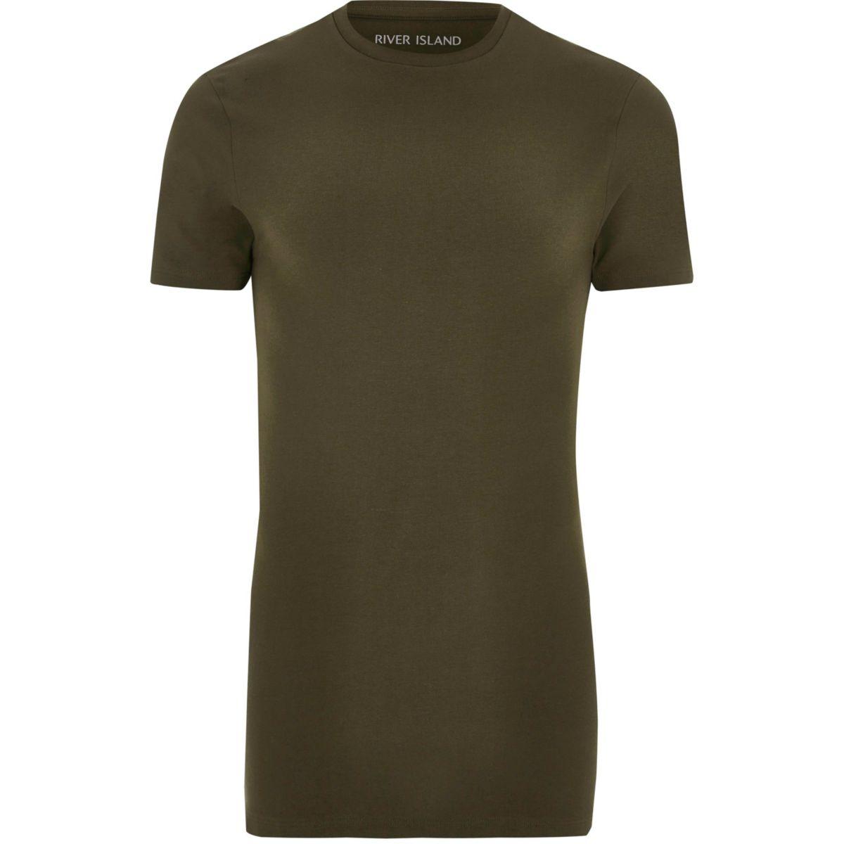 Khaki green longline muscle fit T-shirt