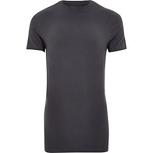 Grey longline muscle fit T-shirt