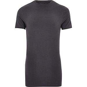 T-shirt gris long à coupe ajustée