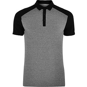 Grey and black muscle fit polo shirt