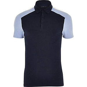 Navy and light blue muscle fit polo shirt