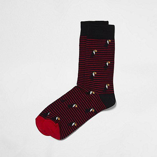 Red toucan print stripe socks
